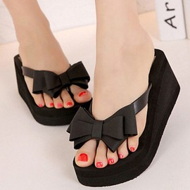 �t� Femme Tongs Thong Wedge Plage Sandales Bowknot Chaussures