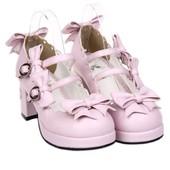 Chaussures Escarpins Simili Cuir Style Lolita Kawaii Mignon Cute Mode Japonaise Noeuds Coloris Blanc Rose Noir Rouge Bleu Tailles 34 � 44 Talon 6,5 Cm. Black Sugar Paris D�guisement Cosplay Manga