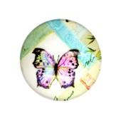 5x Cabochon Imprim� Papillon 25mm