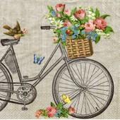 Lot De 2 Serviettes D�co Papier: Bicyclette Vintage