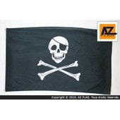 Drapeau Pirate T�te De Mort 90x60cm - Drapeau Corsaire 60 X 90 Cm Polyester L�ger - Az Flag