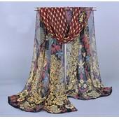 Ch�le Oriental Multicolore Echarpe Voile Foulard Danse Du Ventre Orientale