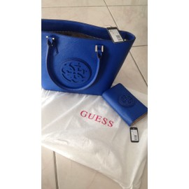 Sac � Main Guess Carly Simili Cuir Bleu