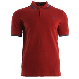 Fred Perry Slim Fit Twin Tipped Shirt Deep Red