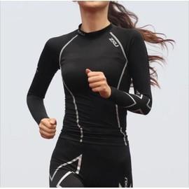 2016 Compression Serr� T - Shirt Femme � Manches Longues Femmes Chemise R�sistant Aux Uv Noir M�che Ski Courir Gym Sports Stade