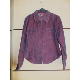 Veste Chemise Oboush Garments Velours 46 Rose Bleu Noir