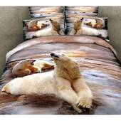 Parure De Lit 3d Effect Pour 2 Personnes Motif La Couple D'ours Polaire 100% Coton 4 Pi�ces