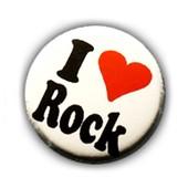 1x Badge - I Love Rock Heart Coeur - Punk Pop Rockabilly Retro 80's Pins Button �25mm