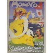 Monaco . Avril . Exposition Et Concours De Canots Automobiles . Grun . Plaque Metal 21 X 15