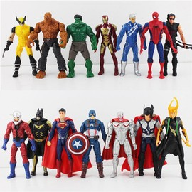 14 Pi�ces Super Hero Marvel Avengers Batman Spiderman Figurines 16cm