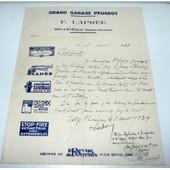 71 Issy L'�v�que Grand Garage Peugeot F.Lapr�e / Certificat De Travail De 1939