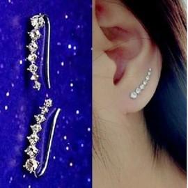 Sept Diamants Platine / Plaqu� Or Rose Femmes Cristal Doux Hoop Boucles D'oreilles Crochet D'oreille Bijoux De Couleur En Argent