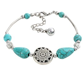 Doux Waterdrop Turquoise Bracelet De Couleur En Argent Antique Fille Brilliant Bijoux Bracelet Femme Exquis Parti