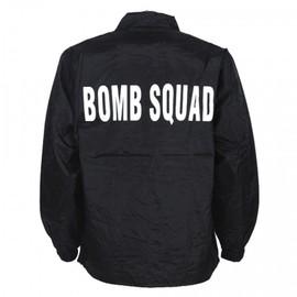 Coupe Vent Noir Impression Bomb Squad Demineur Au Dos En Blanc Fostex 129461-214 Airsoft Reconstitution Deminage
