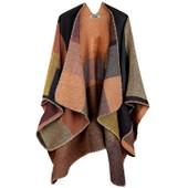 Djt Cape Poncho Femme Tricot Carreaux Tartan Style Hiver