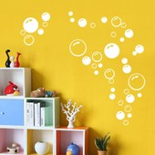 Amovible Accueil D�cor Art Stickers Fen�tre Affiche 21 * 42cm Bubble Couleur Pvc Diy Vinyl Mural Autocollant Blanc