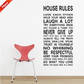 Amovible Accueil D�cor Art Stickers Fen�tre Affiche 110cm * 57cm House Rule Pvc Diy Vinyl Mural Autocollant