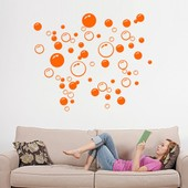 Amovible Accueil D�cor Art Stickers Fen�tre Affiche 21 * 42cm Bubble Couleur Pvc Diy Vinyl Wall Sticker Mural Orange