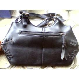 Sac � Main � Coutures Apparentes , 4 Poches, 26x15cm Environ , Simili Cuir Noir