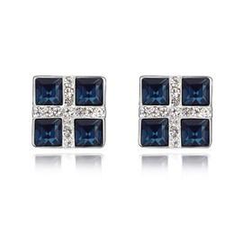Argent Swarovski Elements Femme Cristal Quatre Carr�s Boucles D'oreilles ,Avec Une Bo�te-Cadeau