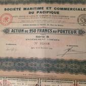 Maritime Et Commerciale Du Pacifique Action De 250 Fr Au Porteur