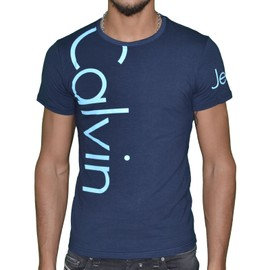 Calvin Klein - T Shirt Manches Courtes - Homme - Cmp13s - Navy Skyblue