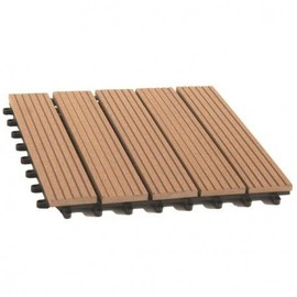 Pack dalle de terrasse 1m² bois composite modular (11 pièces 30 x 30) terre cuite 30 cm - 30 cm -