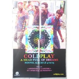 COLDPLAY A HEAD FULL OF DREAMS BON DE PRéCO/PLAN MéDIA/POSTER FORMAT 58X40 TRèS RARE
