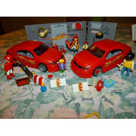 PLAYMOBIL GARAGE TUNING , VOITURES ET PERSONNAGES, occasion