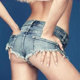 2016 Sexy Discoth�que Filles Taille Basse Trou Denim Shorts String Micro Mini Jeans Shorts Femme Femmes Disco / Pole Dance Hotpants