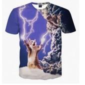 3d D'�t� De Mode Thundercat T-Shirt Intr�pide Kitty Chat Jouant Avec La Foudre T Shirts Harajuku T-Shirts Casual Pour Femmes Hommes