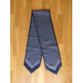 Foulard Vintage 15x114cm Marine � Pois Blanc Cravate En Soie