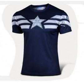 Marvel Super H�ros Avenger Captain America Sport T Shirt Hommes De Compression Armour Base De Couche Thermique Sous Causal Shirt