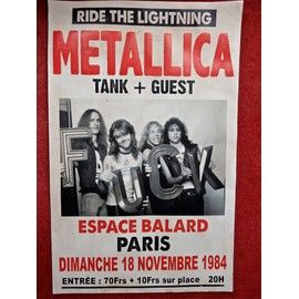 METALLICA affiche de concert PARIS 1984