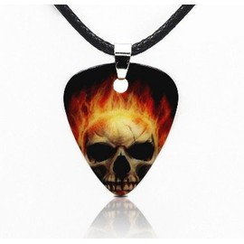 Collier Avec Pendentif M�diator T�te De Mort Skull Crane En Flamme - Rock M�talleux