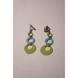 Boucle D'oreille Bleu Et Verte
