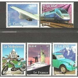 france 2002, très belle série complète issue de feuillet, le siècle au fil du timbre - transports, yvert n° 3471 3472 3473 3474 3475