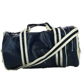 Sac De Sport Fred Perry Barrel Bag Marine Ecru Simili Cuir
