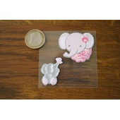 Patch Thermocollant 2 T�tes �l�phants Rose