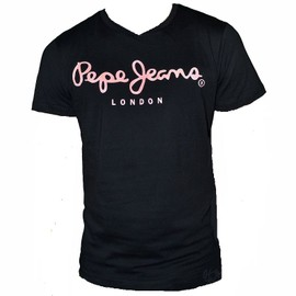 T Shirt Pepe Jeans 500373 Noir Ecriture Beige