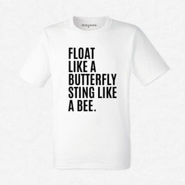 """T-Shirt Homme Blanc Mohamed Ali """"Float like a butterfly sting like a bee"""""""