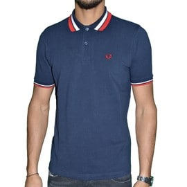 Fred Perry - Polo Manches Courtes - Homme - Polo Twin Tipped M7386 - Navy Bleu Fonc�