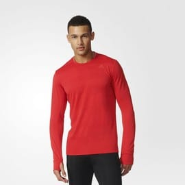 Adidas Supernova Hommes Rouge Climalite Manche Longue Col Rond Running Sport Top