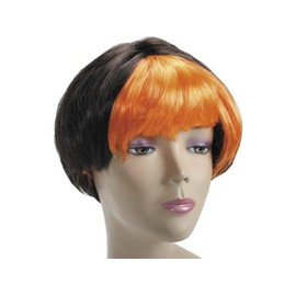 Perruque Adulte Cheveux Court Noir/Orange