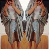 Femmes Nouveau Mode Manteau Bat Cardigan Chemise Automne Hiver Veste