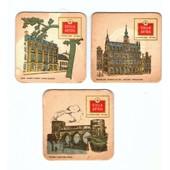 Lot De 3 Sous Bock : Stella Artois Serie Villes Belges, Tournai Ponts Des Trous, Bruxelles Maison Du Roi, Li�ge Mus�e D'armes.