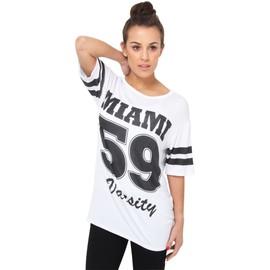 Krisp� Femme Tee Shirt Baseball Imprim� 'miami' T- Shirt Long Grande Varsity Am�ricaine De Basketball Jersey Tendance Swag