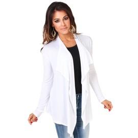 Krisp� Veste Femme Gilet Long Asym�trique Col Cascade Jersey Couleur Unie Cardigan Grande Taille