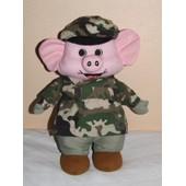 Cochon Tenue Camouflage Militaire Doudou Rose Vert 30 Cm