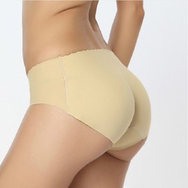 Sexy Femme Culottes Slip Push Up Faux Prothese Fessier Fausses Coussinet Beige Taille 25cm Hanche 73-78cm